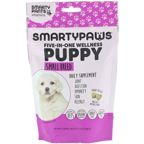 SmartyPants, SmartyPaws, Five-In-One Wellness, Puppy, Small Breed, 60 Soft Chews فوائد