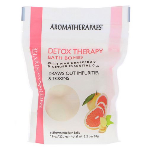 Smith & Vandiver, Detox Therapy Bath Bombs with Pink Grapefruit & Ginger Essential Oils, 4 Effervescent Bath Balls, 0.8 oz (22 g) Each فوائد