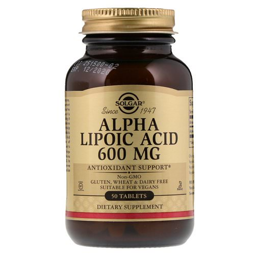 Solgar, Alpha Lipoic Acid, 600 mg, 50 Tablets فوائد