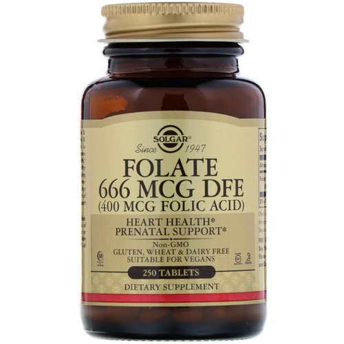 Solgar, Folic Acid, 400 mcg, 250 Tablets فوائد