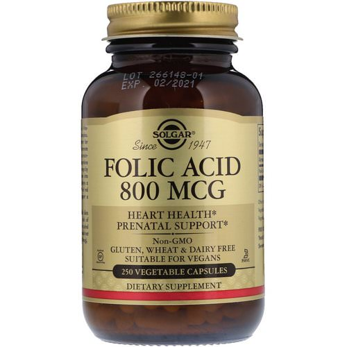 Solgar, Folic Acid, 800 mcg, 250 Vegetable Capsules فوائد