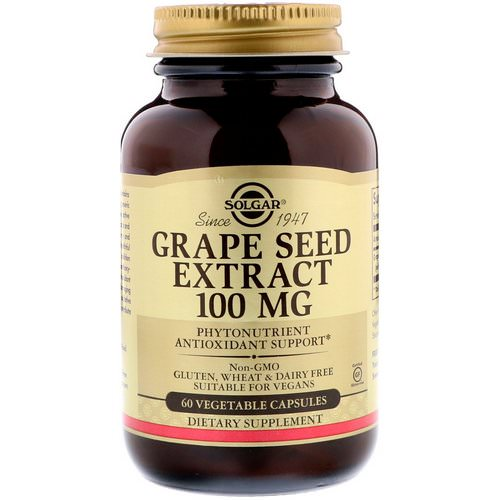 Solgar, Grape Seed Extract, 100 mg, 60 Vegetable Capsules فوائد