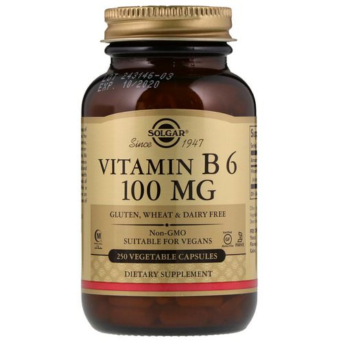 Solgar, Vitamin B6, 100 mg, 250 Vegetable Capsules فوائد