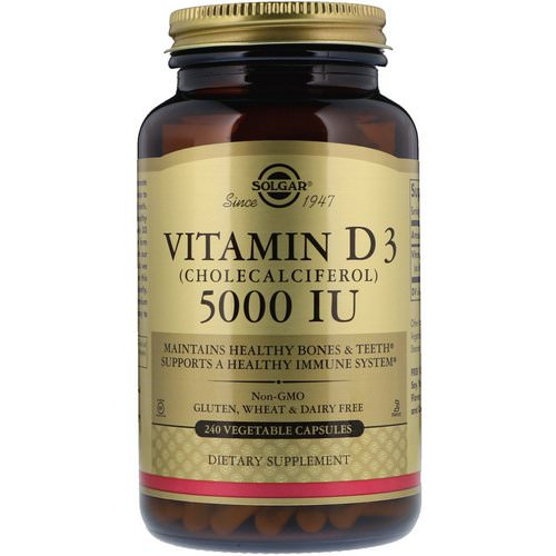 Solgar, Vitamin D3 (Cholecalciferol), 5000 IU, 240 Vegetable Capsules فوائد