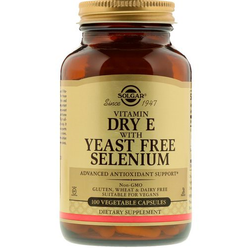 Solgar, Vitamin Dry E with Yeast Free Selenium, 100 Vegetable Capsules فوائد