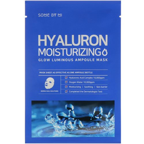 Some By Mi, Glow Luminous Ampoule Mask, Hyaluron Moisturizing, 10 Sheets, 25 g Each فوائد