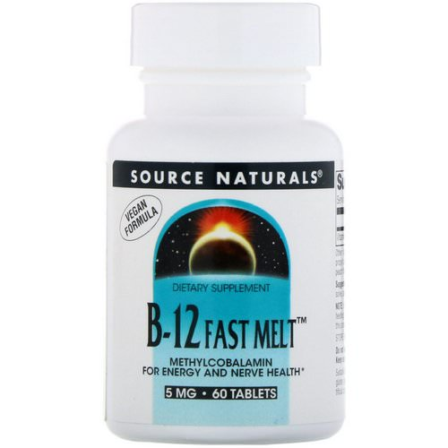 Source Naturals, B-12 Fast Melt, 5 mg, 60 Tablets فوائد