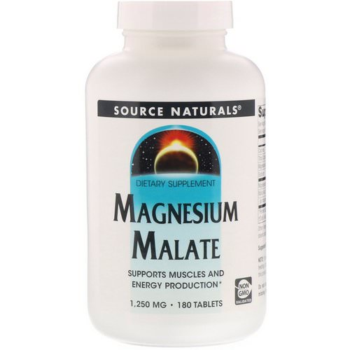 Source Naturals, Magnesium Malate, 1,250 mg, 180 Tablets فوائد