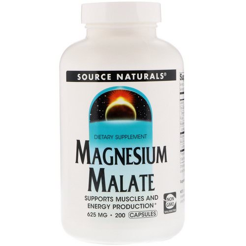 Source Naturals, Magnesium Malate, 625 mg, 200 Capsules فوائد