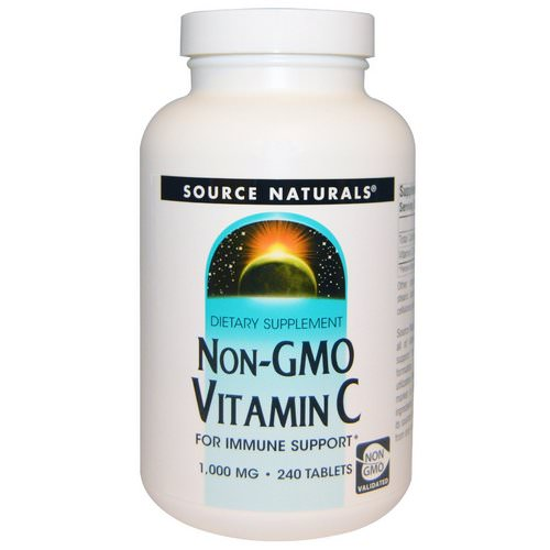 Source Naturals, Non-GMO Vitamin C, 1,000 mg, 240 Tablets فوائد