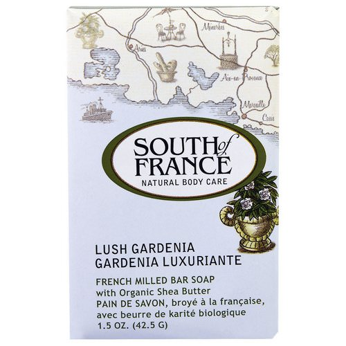 South of France, French Milled Bar Soap with Organic Shea Butter, Lush Gardenia, 1.5 oz (42.5 g) فوائد