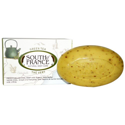 South of France, Green Tea, French Milled Bar Oval Soap with Organic Shea Butter, 6 oz (170 g) فوائد