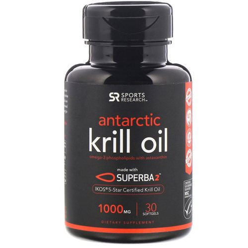 Sports Research, Antarctic Krill Oil with Astaxanthin, 1000 mg, 30 Softgels فوائد