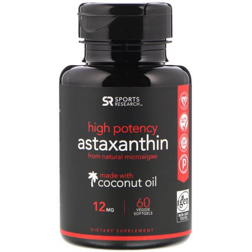 Sports Research, Astaxanthin Made With Coconut Oil, High Potency, 12 mg, 60 Veggie Softgels فوائد