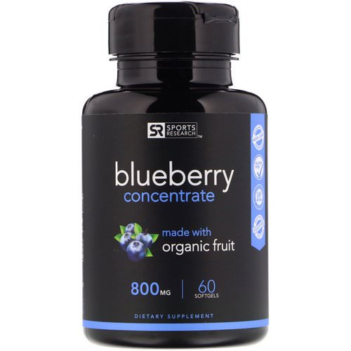 Sports Research, Blueberry Concentrate, 800 mg, 60 Softgels فوائد