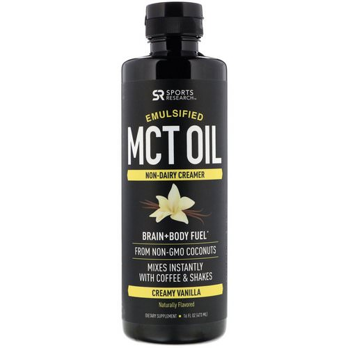 Sports Research, Emulsified MCT Oil, Creamy Vanilla, 16 fl oz (473 ml) فوائد