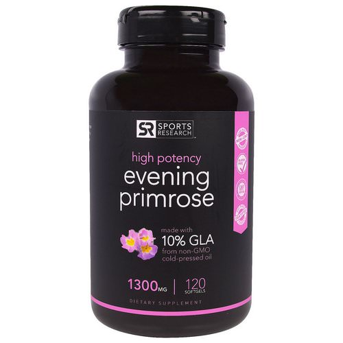 Sports Research, Evening Primrose Oil, 1300 mg, 120 Softgels فوائد