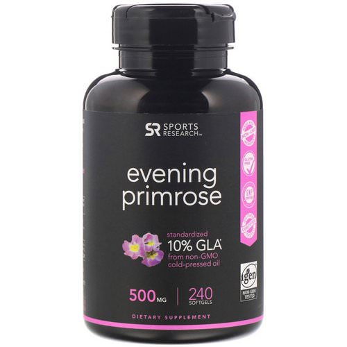 Sports Research, Evening Primrose, 500 mg, 240 Softgels فوائد