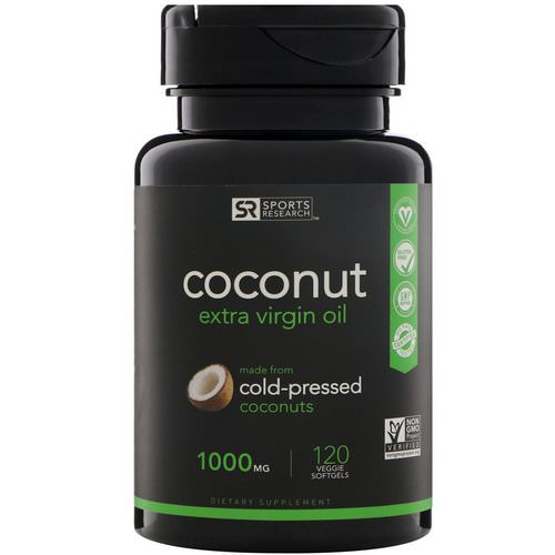 Sports Research, Extra Virgin Coconut Oil, 1000 mg, 120 Veggie Softgels فوائد