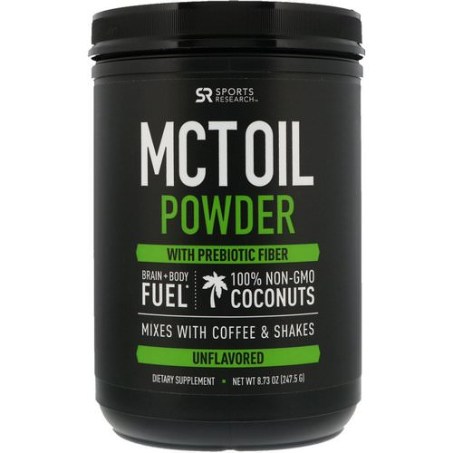 Sports Research, MCT Oil Powder with Prebiotic Fiber, Unflavored, 8.73 oz (247.5 g) فوائد