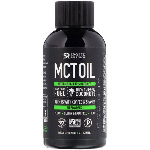 Sports Research, MCT Oil, Unflavored, 2 fl oz (59 ml) فوائد