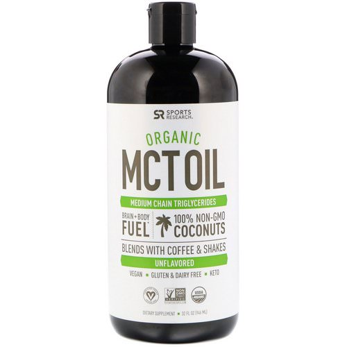 Sports Research, Organic MCT Oil, Unflavored, 32 fl oz (946 ml) فوائد
