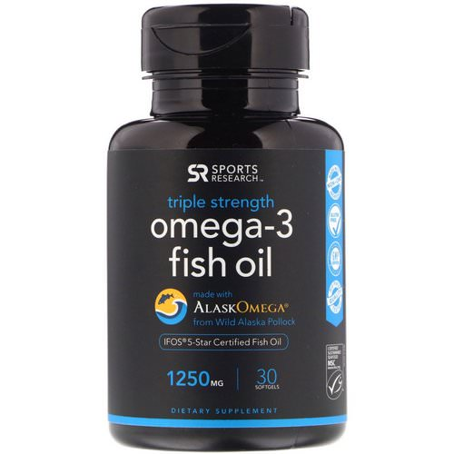 Sports Research, Omega-3 Fish Oil, Triple Strength, 1250 mg, 30 Softgels فوائد