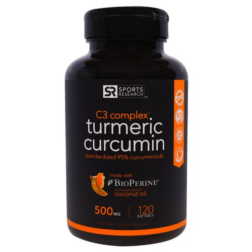 Sports Research, Turmeric Curcumin, C3 Complex, 500 mg, 120 Softgels فوائد