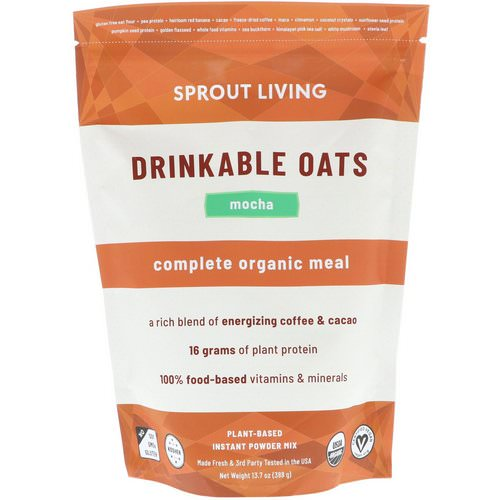 Sprout Living, Drinkable Oats, Complete Organic Meal, Mocha, 13.7 oz (388 g) فوائد