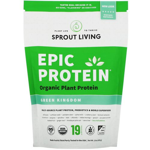 Sprout Living, Epic Organic Plant Protein, Green Kingdom, 16 oz (455 g) فوائد