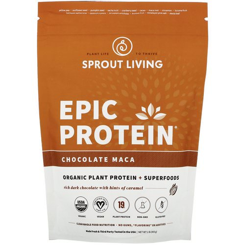 Sprout Living, Epic Protein, Chocolate Maca, 1 lb (455 g) فوائد