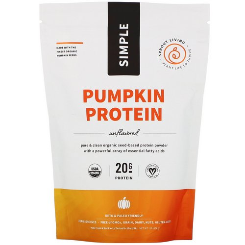 Sprout Living, Simple, Pumpkin Protein, Unflavored, 1 lb (454 g) فوائد