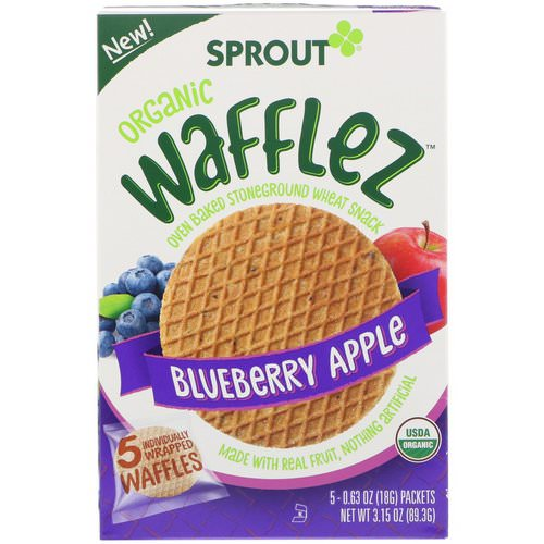 Sprout Organic, Wafflez, Blueberry Apple, 5 Packets, 0.63 oz (18 g) فوائد