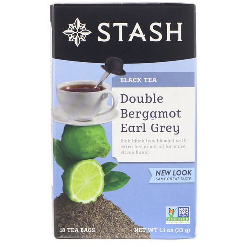 Stash Tea, Black Tea, Double Bergamot Earl Grey, 18 Tea Bags, 1.1 oz (33 g) فوائد