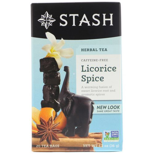 Stash Tea, Herbal Tea, Licorice Spice, Caffeine Free, 20 Tea Bags, 1.2 oz (36 g) فوائد