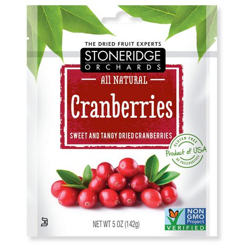 Stoneridge Orchards, Cranberries, Sweet & Tangy Dried Cranberries, 5 oz (142 g) فوائد