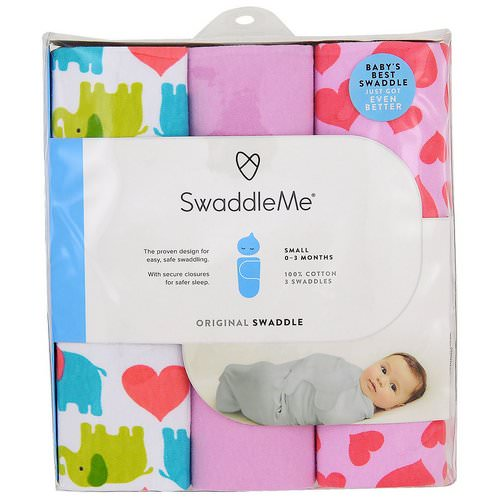 Summer Infant, Swaddle Me, Original Swaddle, Small, 0-3 Months, Elephant Hearts, 3 Swaddles فوائد