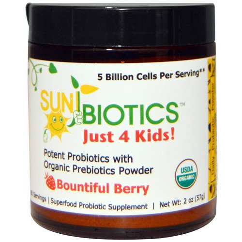 Sunbiotics, Just 4 Kids! Potent Probiotics with Organic Prebiotics Powder, Bountiful Berry, 2 oz (57 g) فوائد