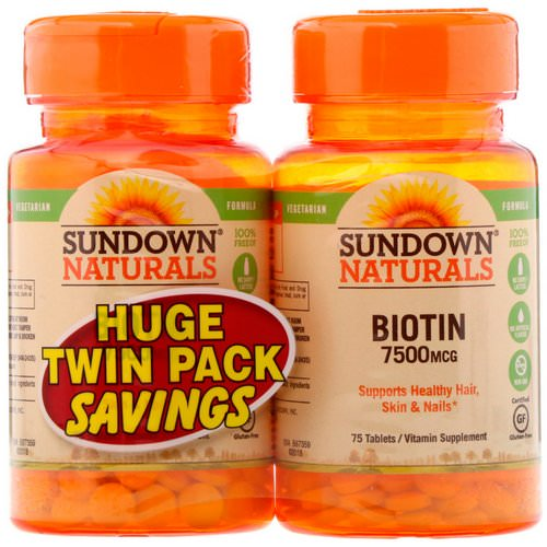 Sundown Naturals, Biotin, Twin Pack, 7,500 mcg, 75 Tablets Each فوائد
