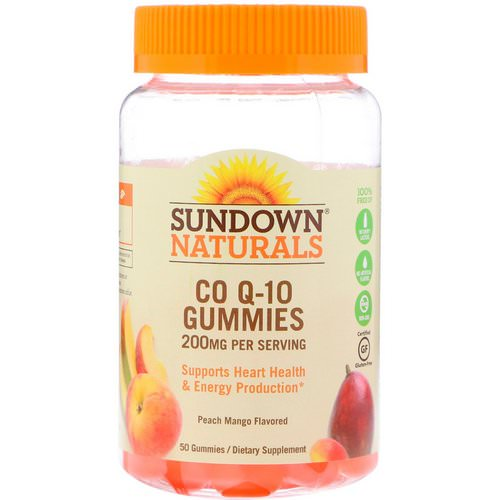 Sundown Naturals, Co Q-10 Gummies, Peach Mango Flavored, 200 mg, 50 Gummies فوائد