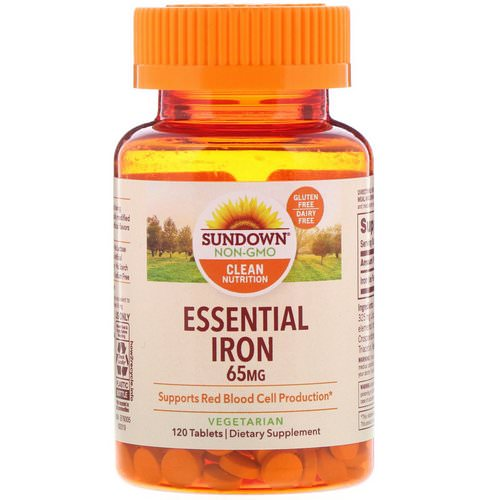 Sundown Naturals, Essential Iron, 65 mg, 120 Tablets فوائد