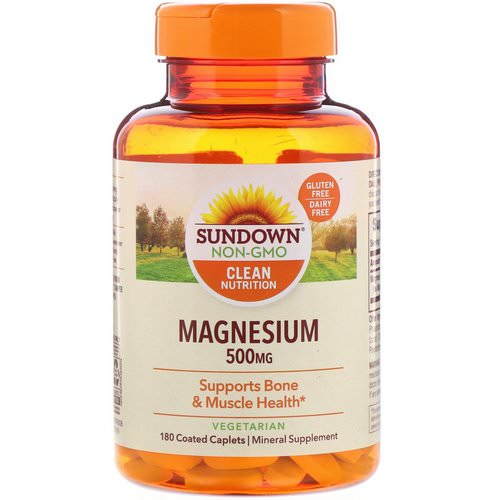 Sundown Naturals, Magnesium, 500 mg, 180 Coated Caplets فوائد