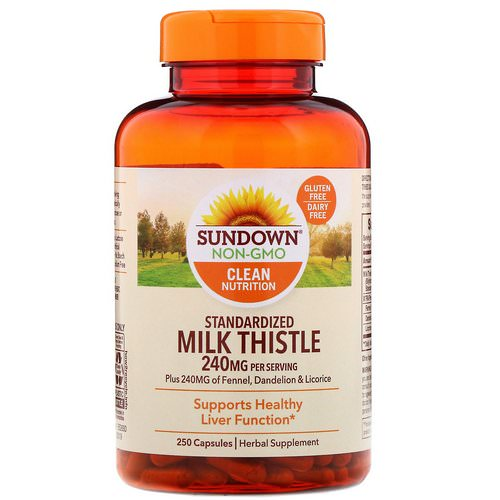 Sundown Naturals, Standardized Milk Thistle, 240 mg, 250 Capsules فوائد