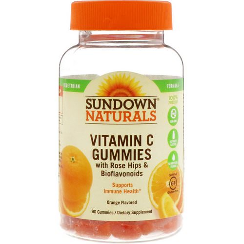 Sundown Naturals, Vitamin C Gummies with Rose Hips & Bioflavonoids, Orange Flavored, 90 Gummies فوائد