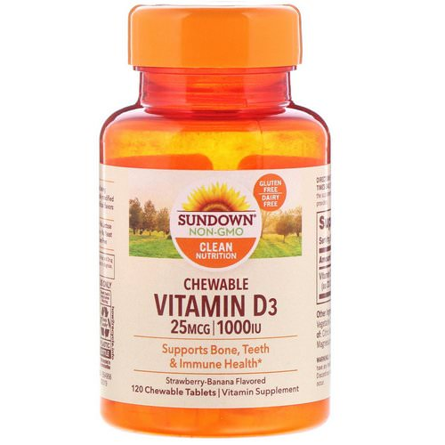 Sundown Naturals, Chewable Vitamin D3, Strawberry-Banana Flavored, 25 mg (1,000 IU), 120 ChewableTablets فوائد