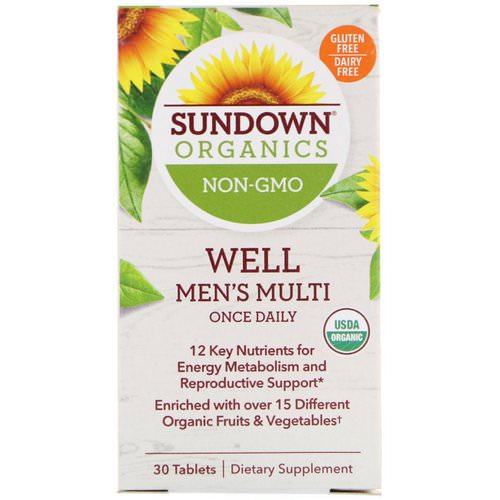 Sundown Organics, Well Men's Multivitamin, Once Daily, 30 Tablets فوائد