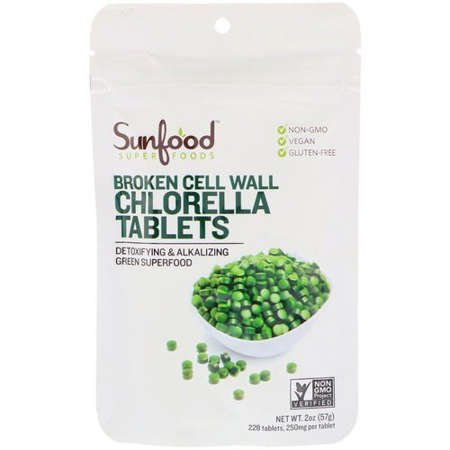 Sunfood, Broken Cell Wall Chlorella Tablets, 250 mg, 228 Tablets, 2 oz (57 g) فوائد
