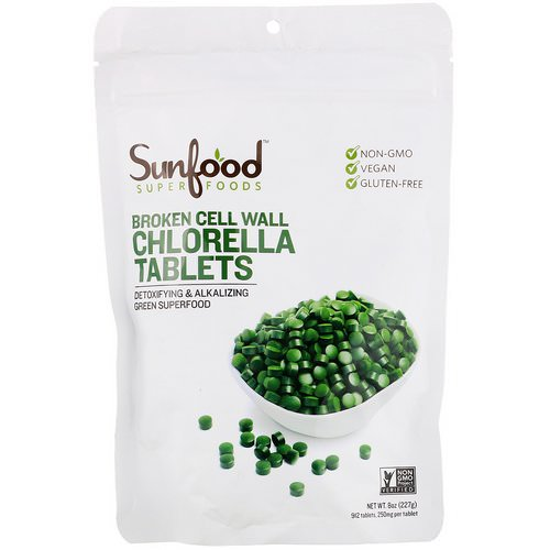 Sunfood, Broken Cell Wall Chlorella Tablets, 250 mg, 912 Tablets, 8 oz (227 g) فوائد