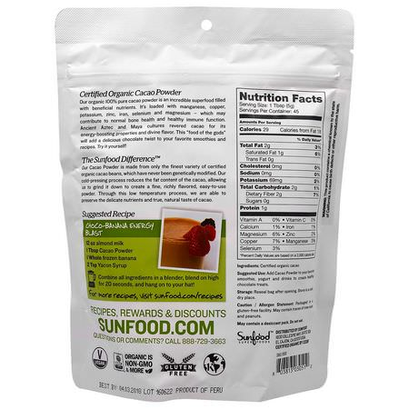 Sunfood, Organic Cacao Powder, 8 oz (227 g):الكاكا,الس,بر ف,دز