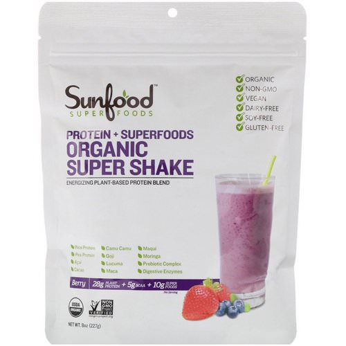 Sunfood, Protein + Superfoods, Organic Super Shake, Berry, 8 oz (227 g) فوائد